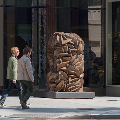 Conflicts of Growth,  2009 Weathered steel 5 x 5 x 7 feet Installed at Spring & Varick Street, NYC Photo by Fred Charles