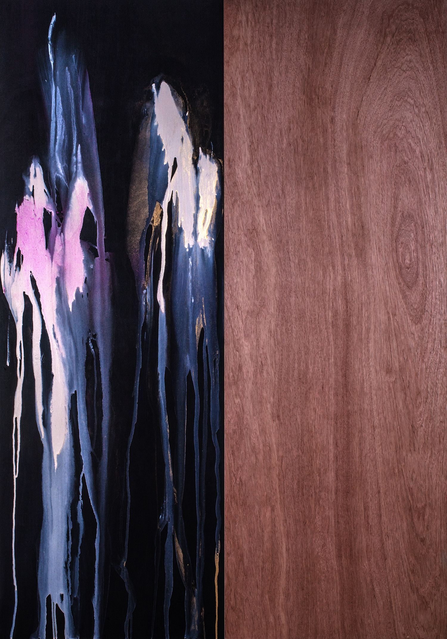 Ghosts and Divinity,  2013 Piano lacquer and acrylic on birch 80 x 56 inches