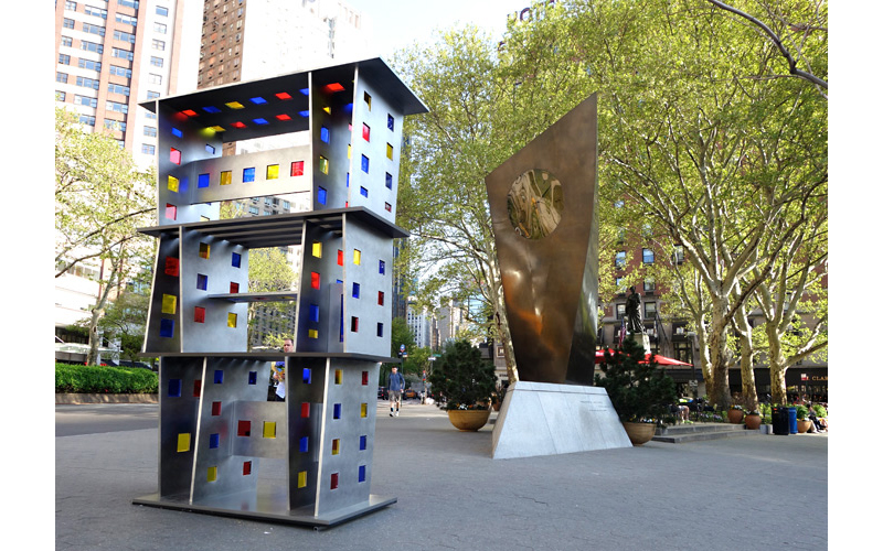 Mondrian,  2014 Painted aluminum and stained glass 132 x 96 x 44 inches