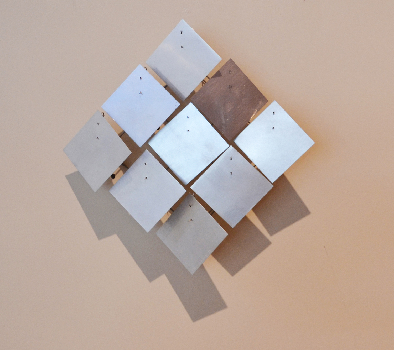 Nine Diamonds   Stainless and aluminum 15 x 15 x 3 inches