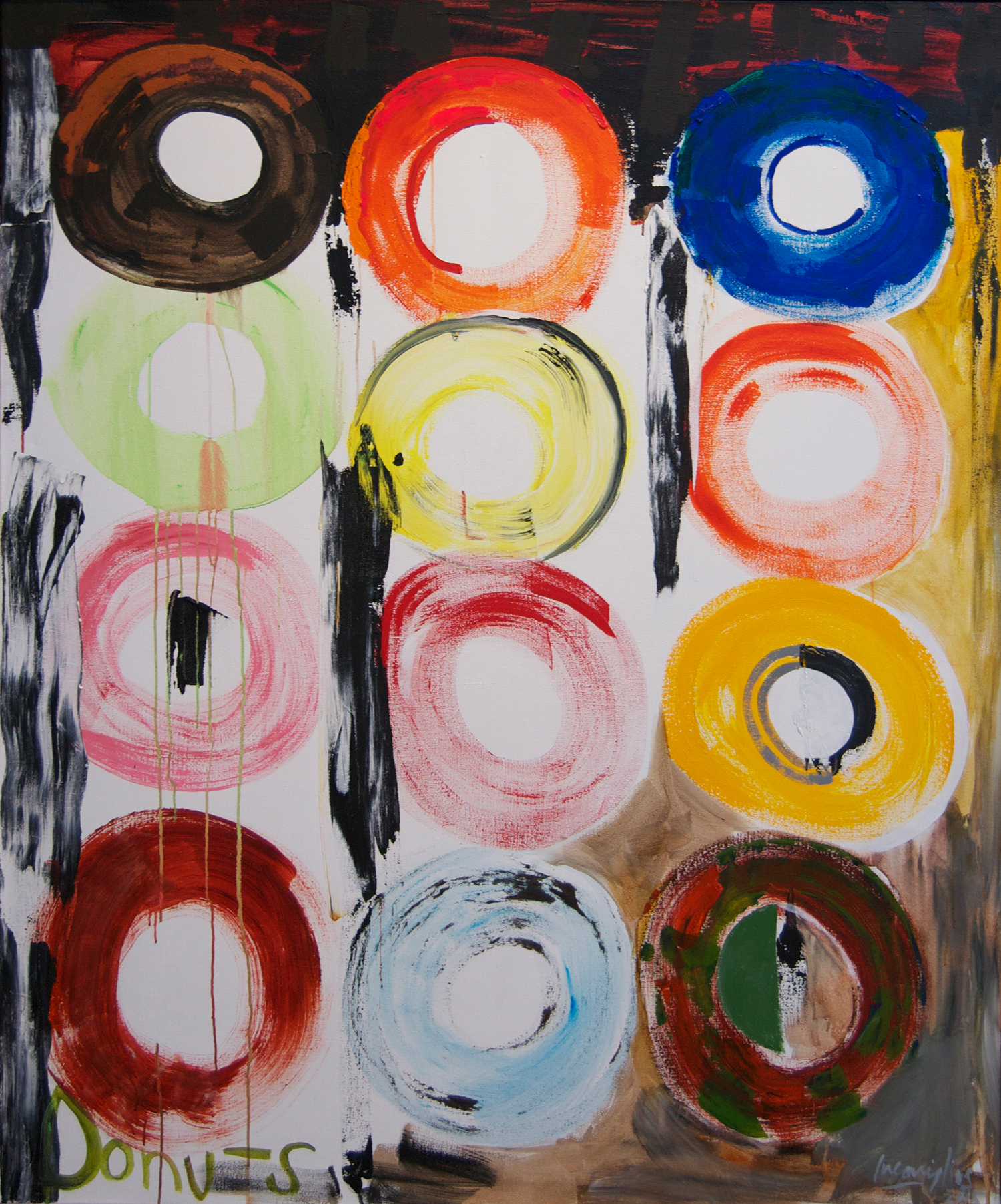 From the Donut Series,  2015 Acrylic on canvas 70 x 62 inches