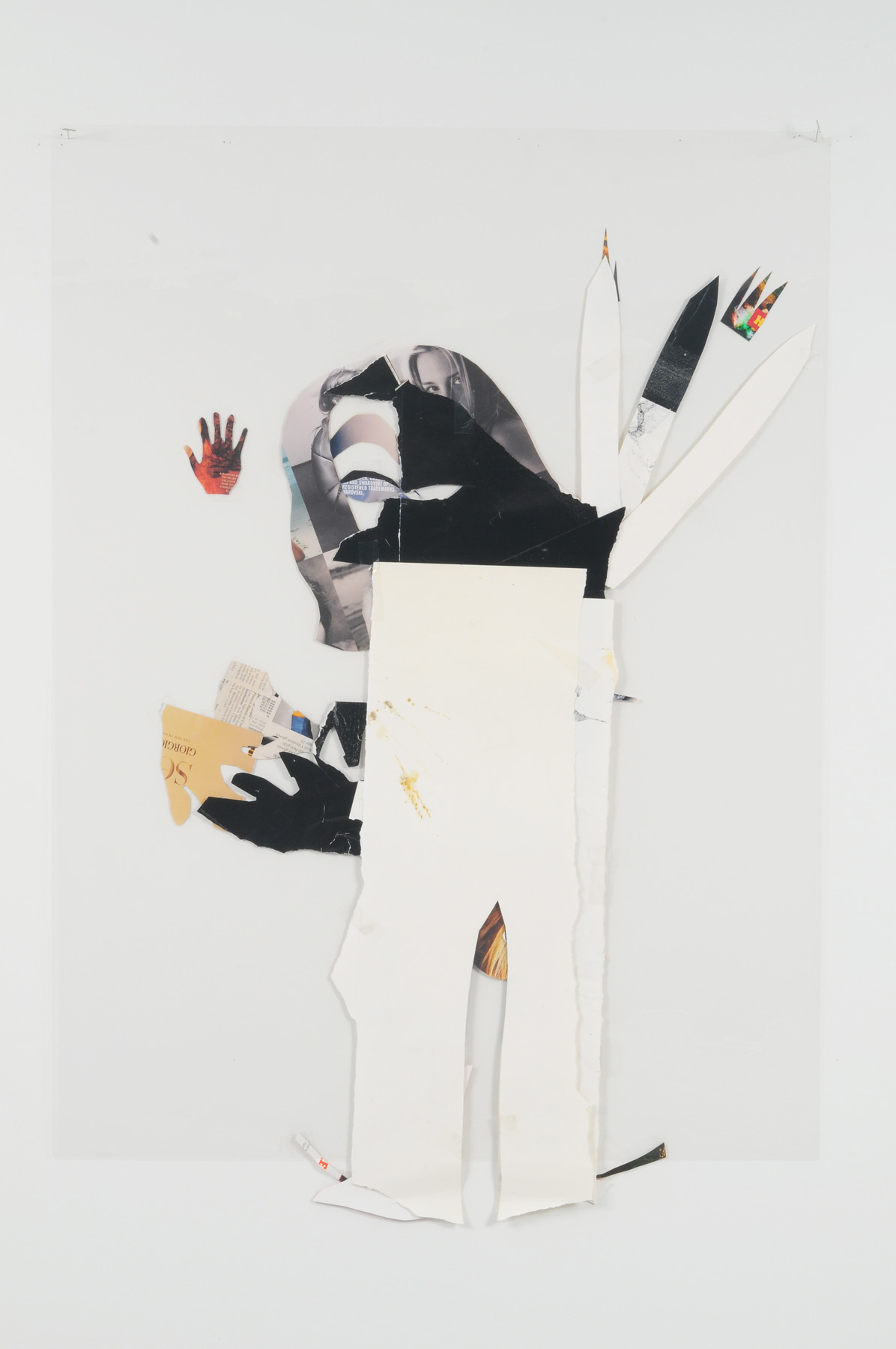 Old Train Girl (Back),  2008 Collage on acetate 44 x 30 inches