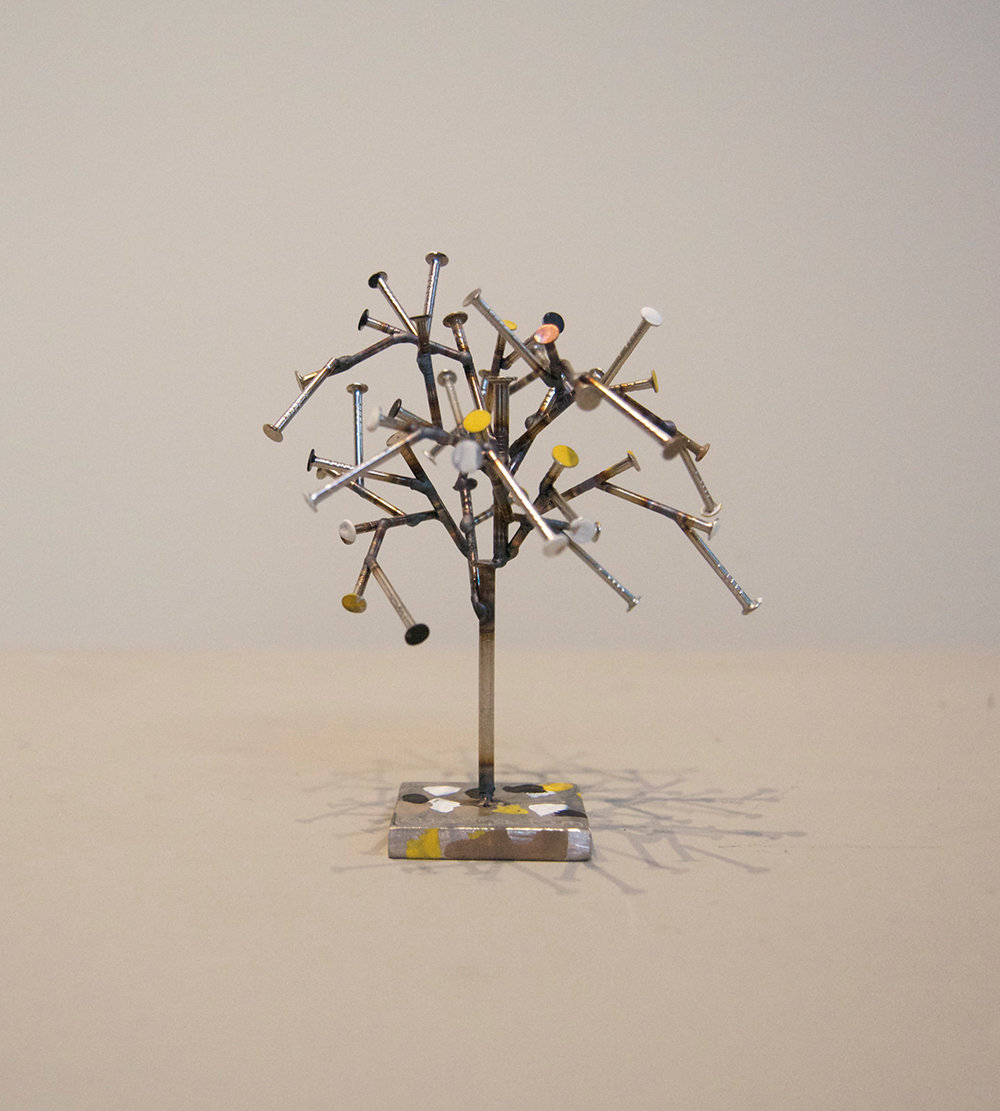 Tiny Tree,  2015 Stainless steel and paint Unique 3 x 3 x 3 inches