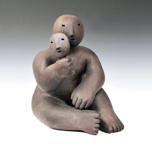 sitter holding mask , 2017 wood fired stoneware 14 x 9 x 12 inches