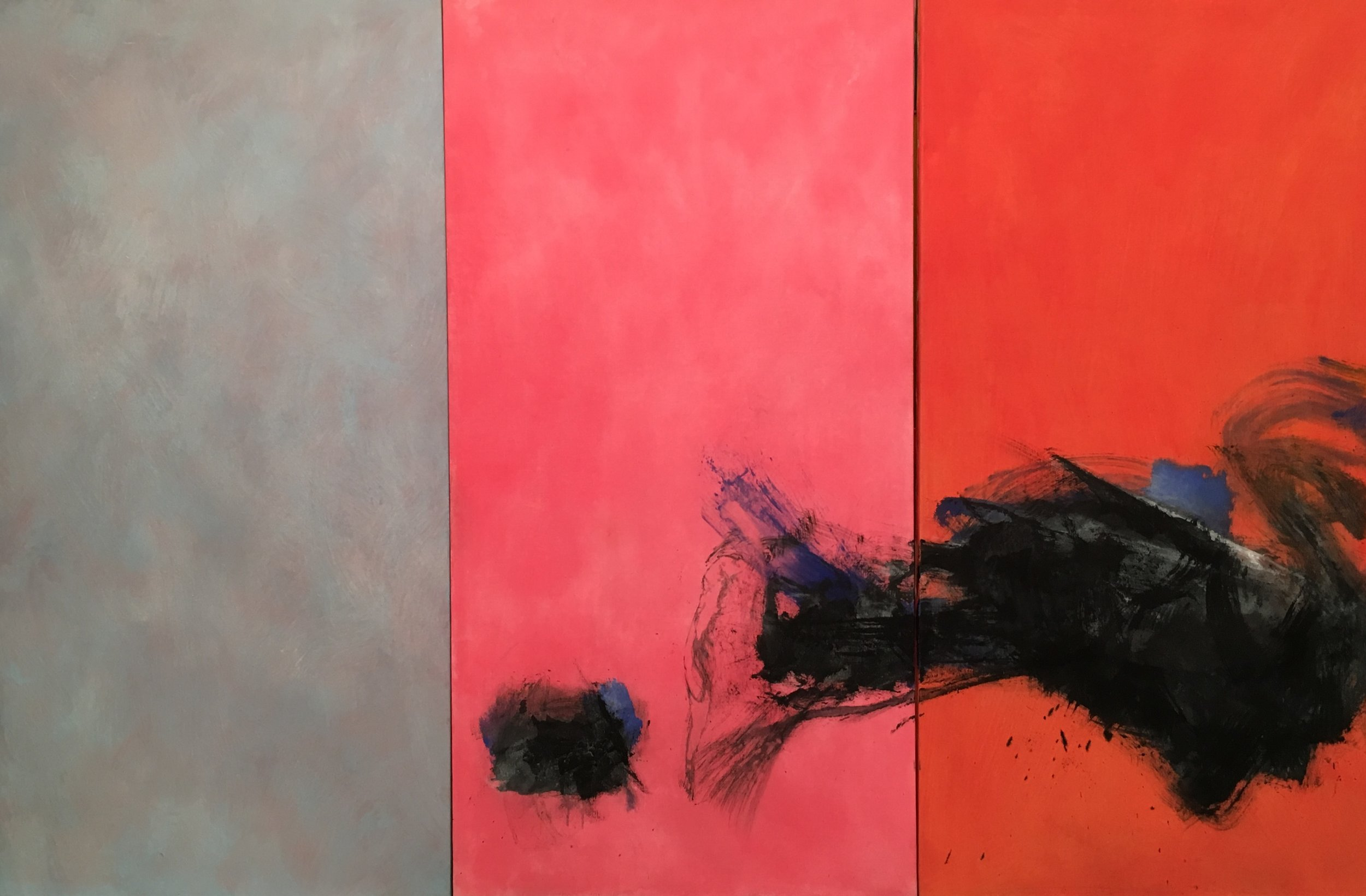 Reach, 1981 - 1995 Triptych acrylic on canvas 72 x 108 1/2 inches