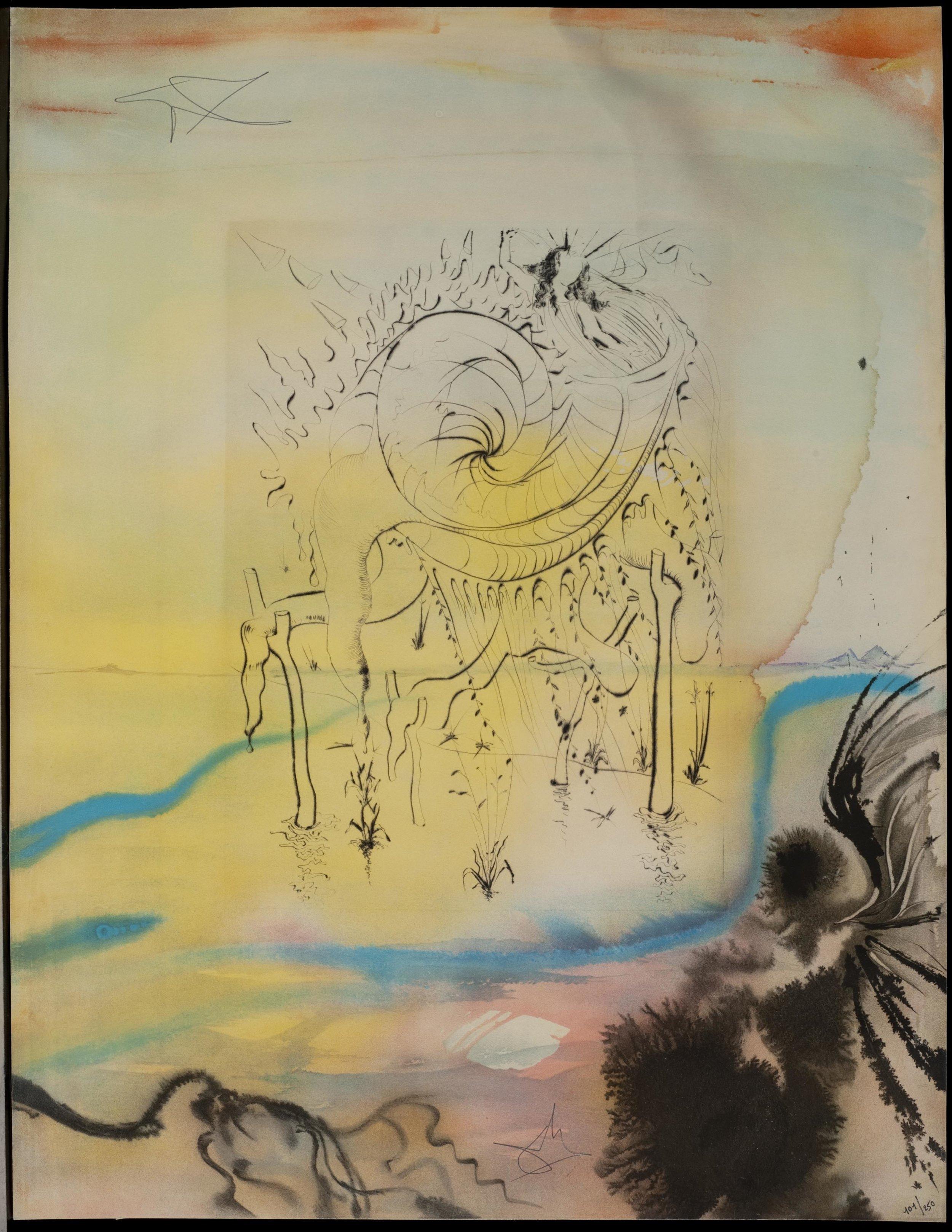 Moise sauvé des eaux , 1975 Lithograph on soft glove sheepskin 25 50/127h x 19 87/127w in