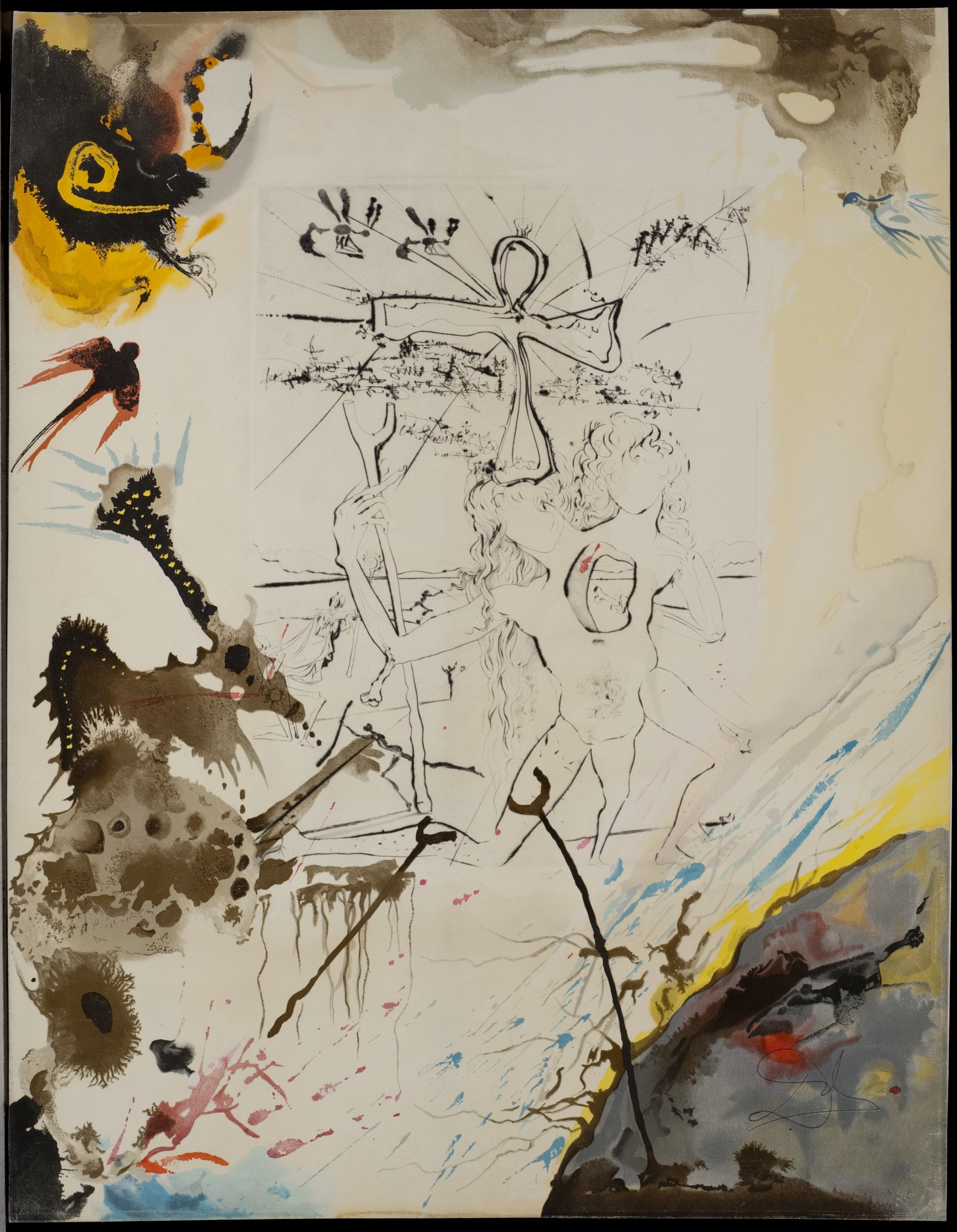 Moise et Akehenaton , 1975 Lithograph on soft glove sheepskin 25 50/127h x 19 87/127w in