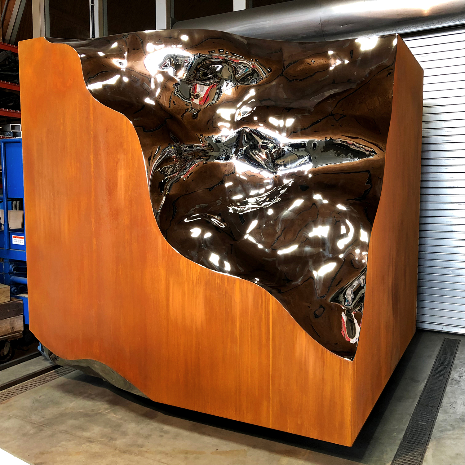 Alembic Cube , 2017 CorTen and stainless steel 96 x 96 x 96 inches