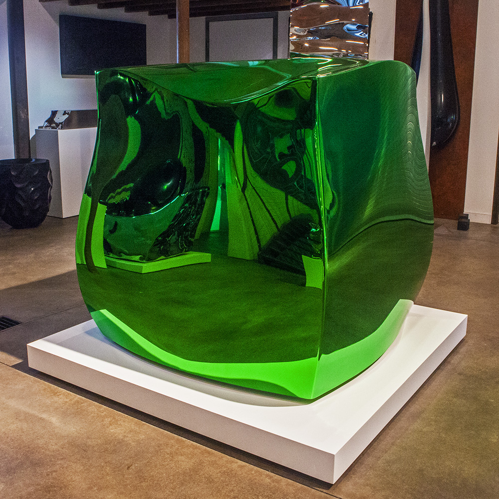 Jello (Lime) , 2017 Mirror polished marine grade stainless steel / tinted automotive clear coat 48 x 48 x 48 inches