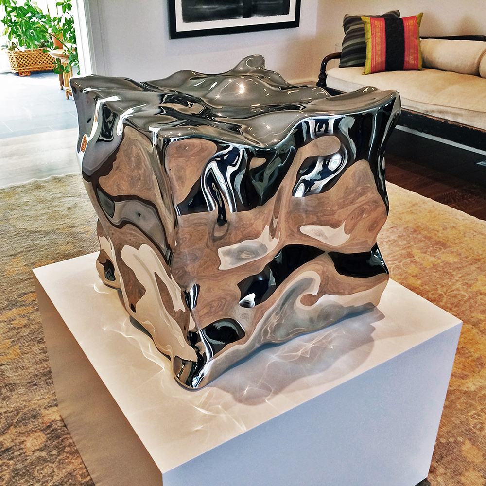 Liquid State Exhale , 2014 Mirror polished marine grade stainless steel 22 x 22 x 22 inches
