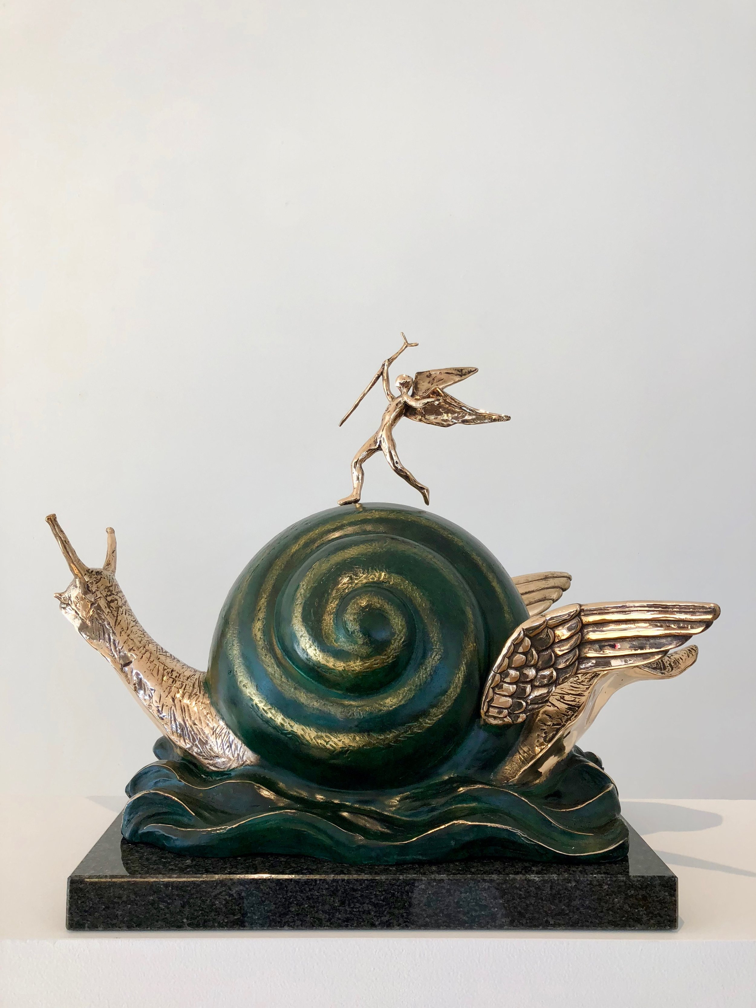 Snail and the Angel , 1977-1984 Bronze 17 41/127h x 17 91/127w x 11 103/127d inches