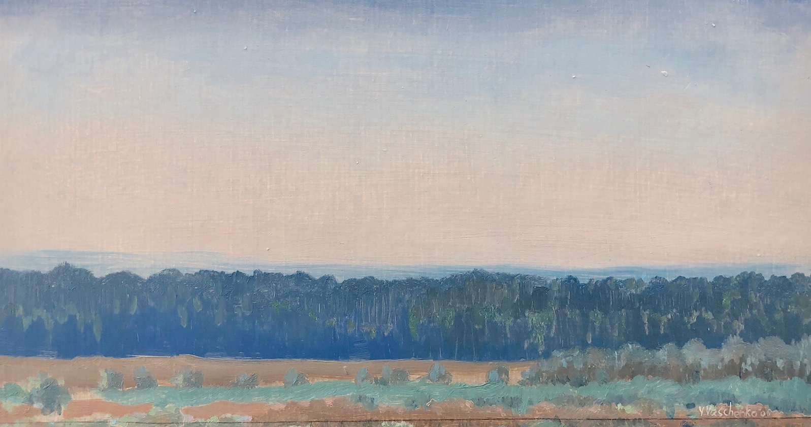 Becoming Evening , 2006 Oil on board 6 3/4 x 13 inches