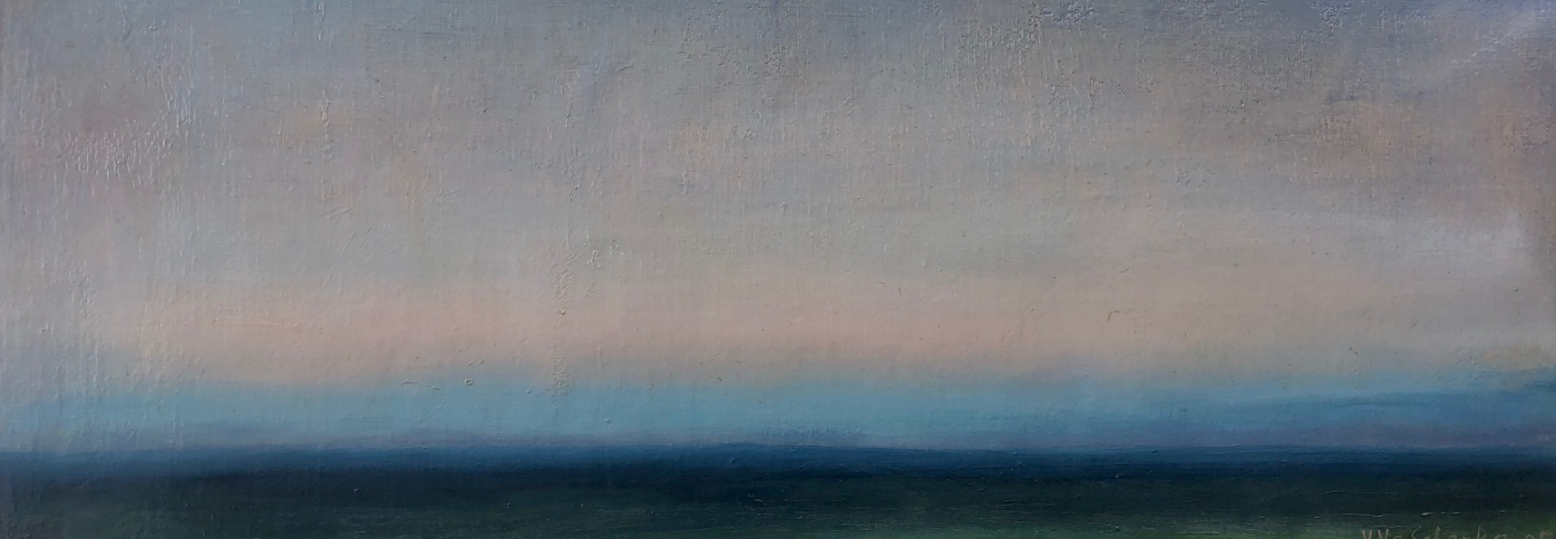 Sun has Set, Twilight #3, 2005  Oil on canvas 7 3/4 x 22 1/2 inches
