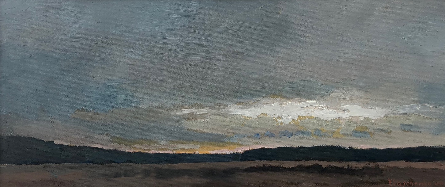 Grey Evening on the way to D'Or, 2006 Oil on canvas 5 1/2 x 13 inches