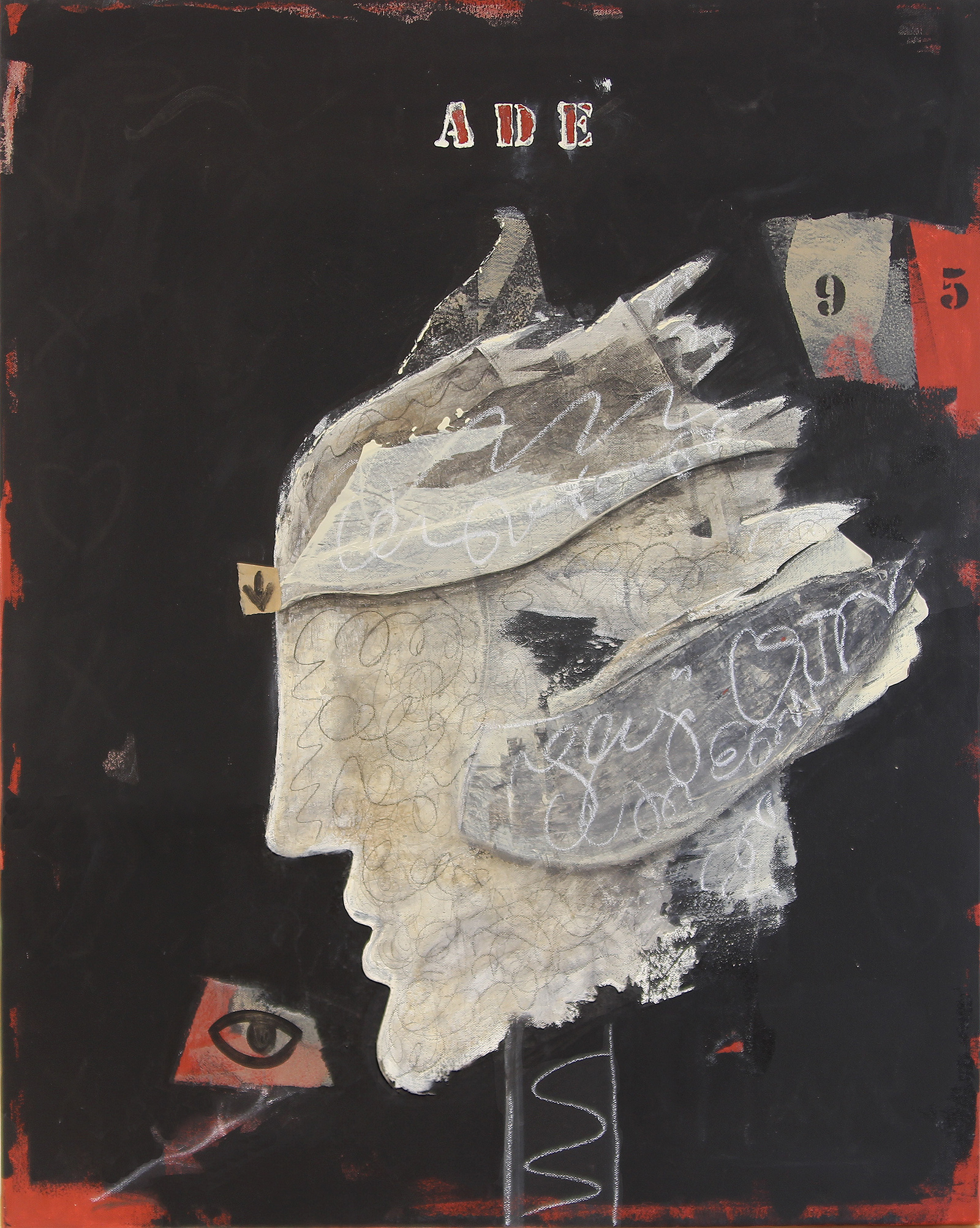 Poetry on 82nd & 5th #3 , 2018 Mixed media on canvas 30h x 24w in
