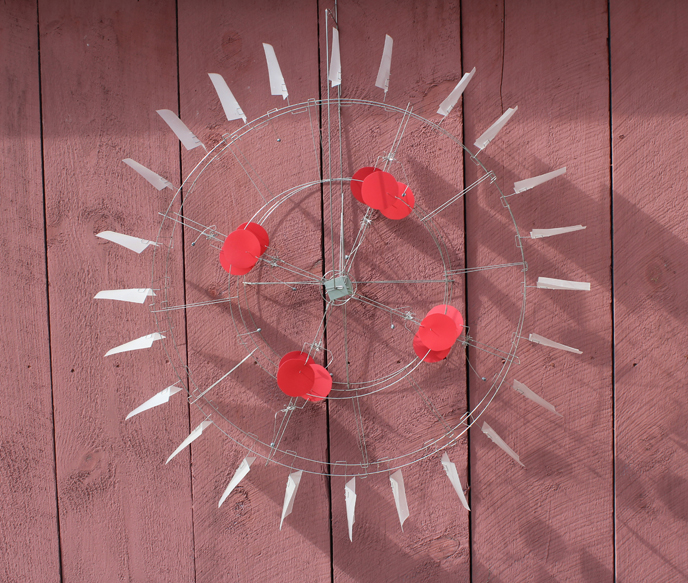 Red Dot Wheel  Lexan, aluminum and stainless steel 38 x 38 x 7 inches