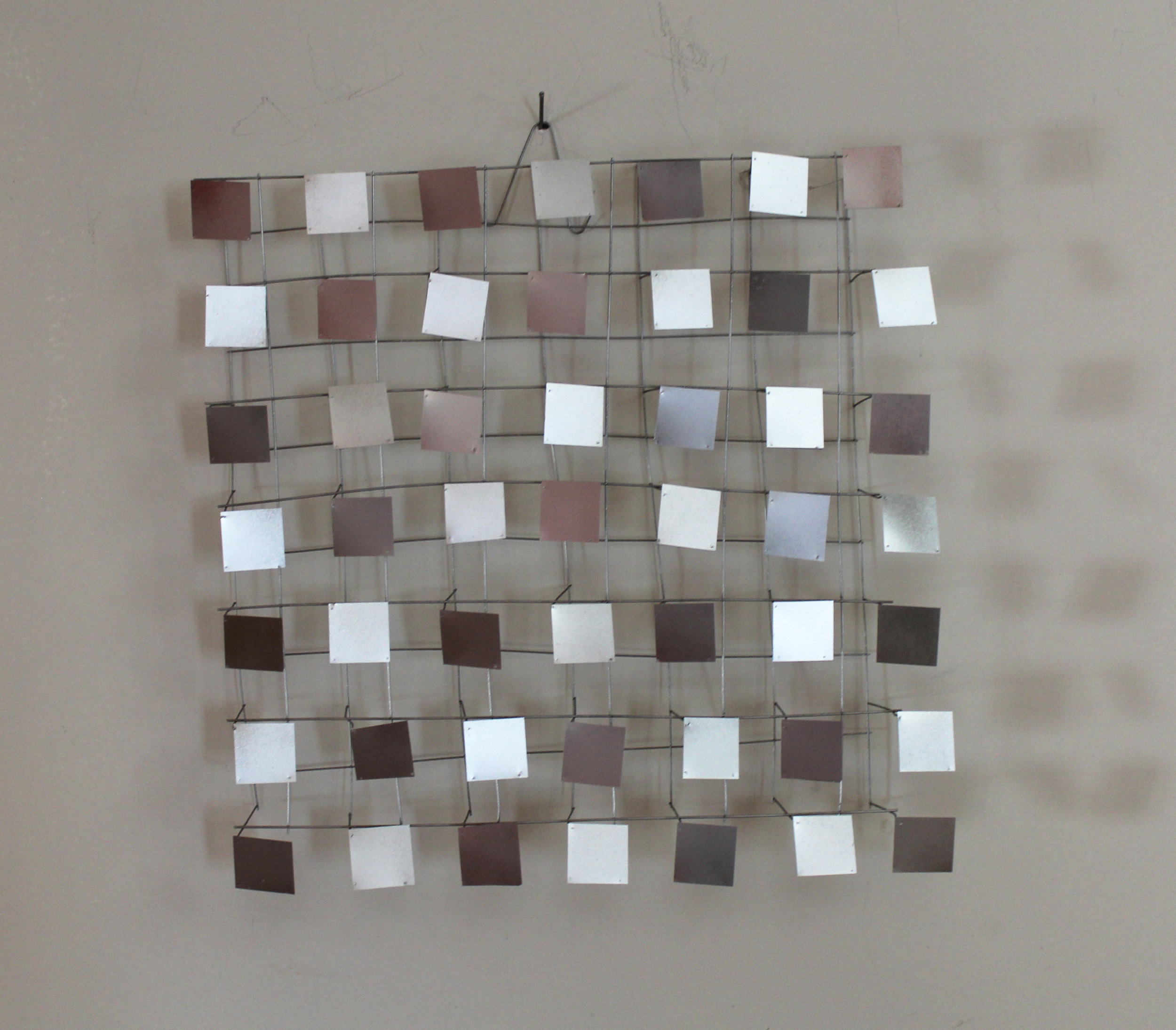 Funky Square  Aluminum and stainless steel 15 x 15 x 3 inches