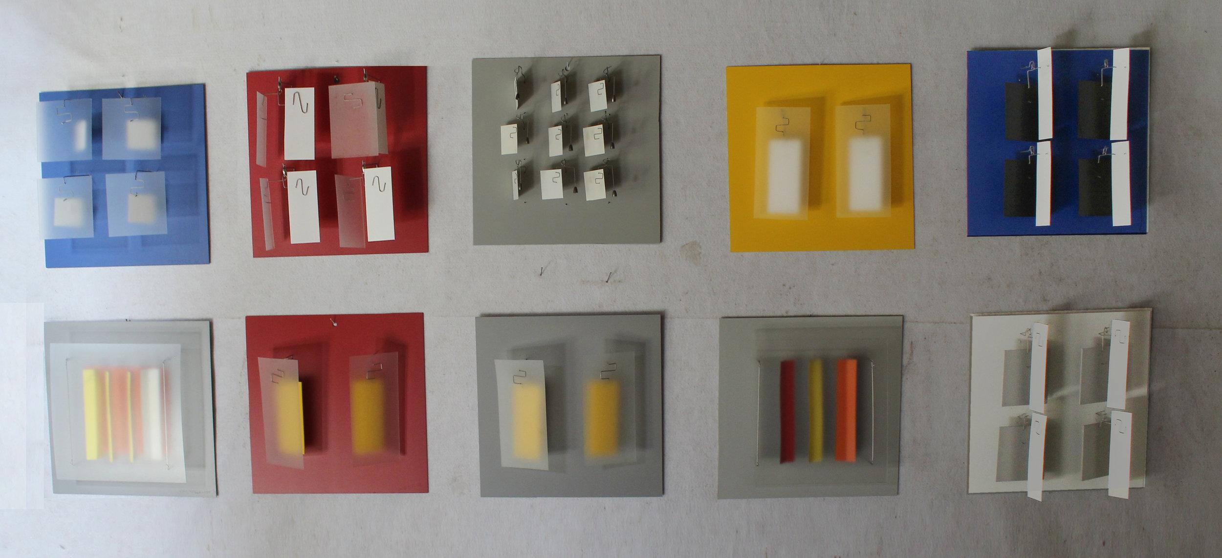 Color Studies  Lexan, PVC and aluminum 18 x 18 x 4-7 inches