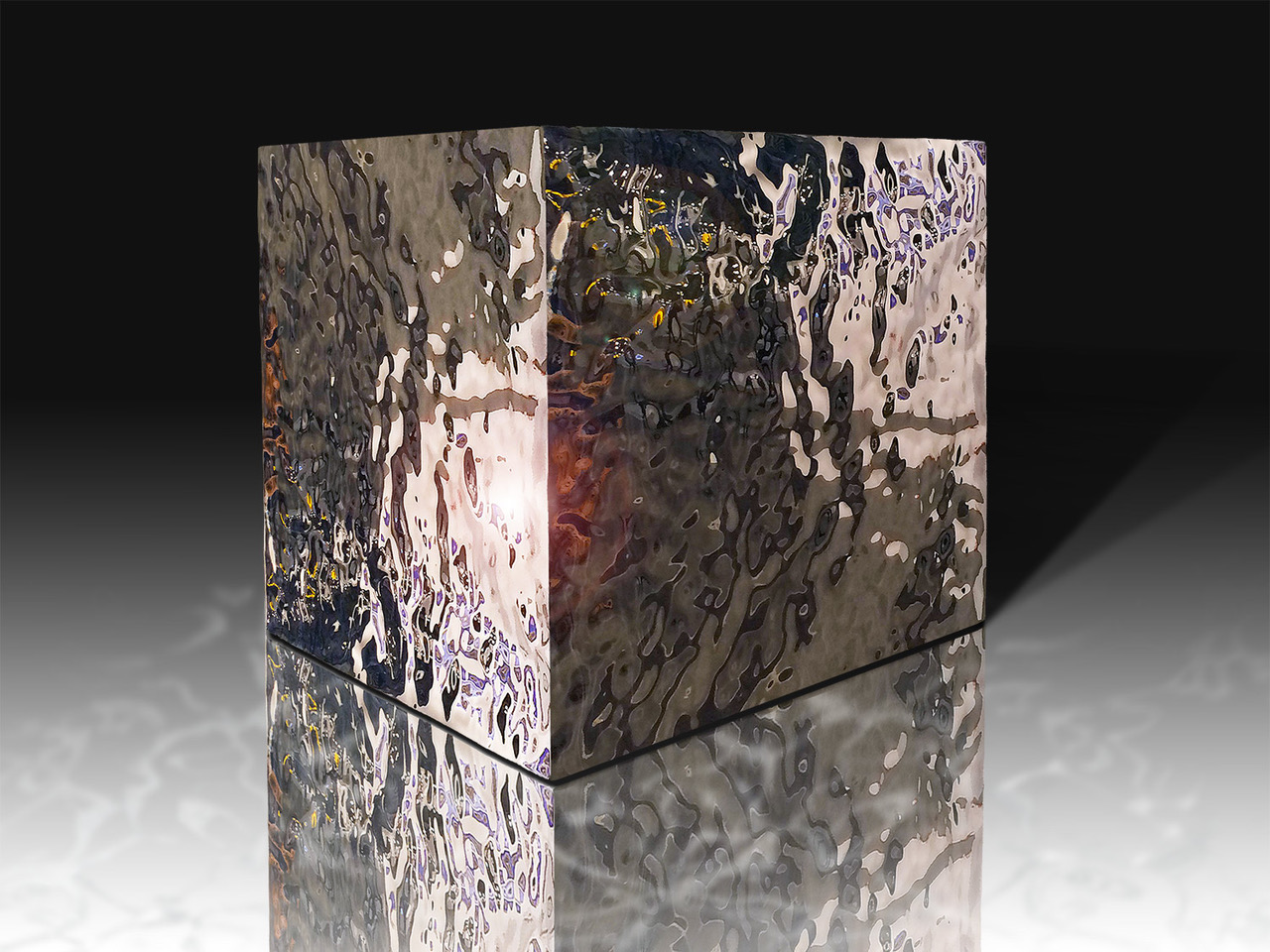 Ripple Cube 14 , 2014 High Chromium Stainless Steel 14h x 14w x 14d inches
