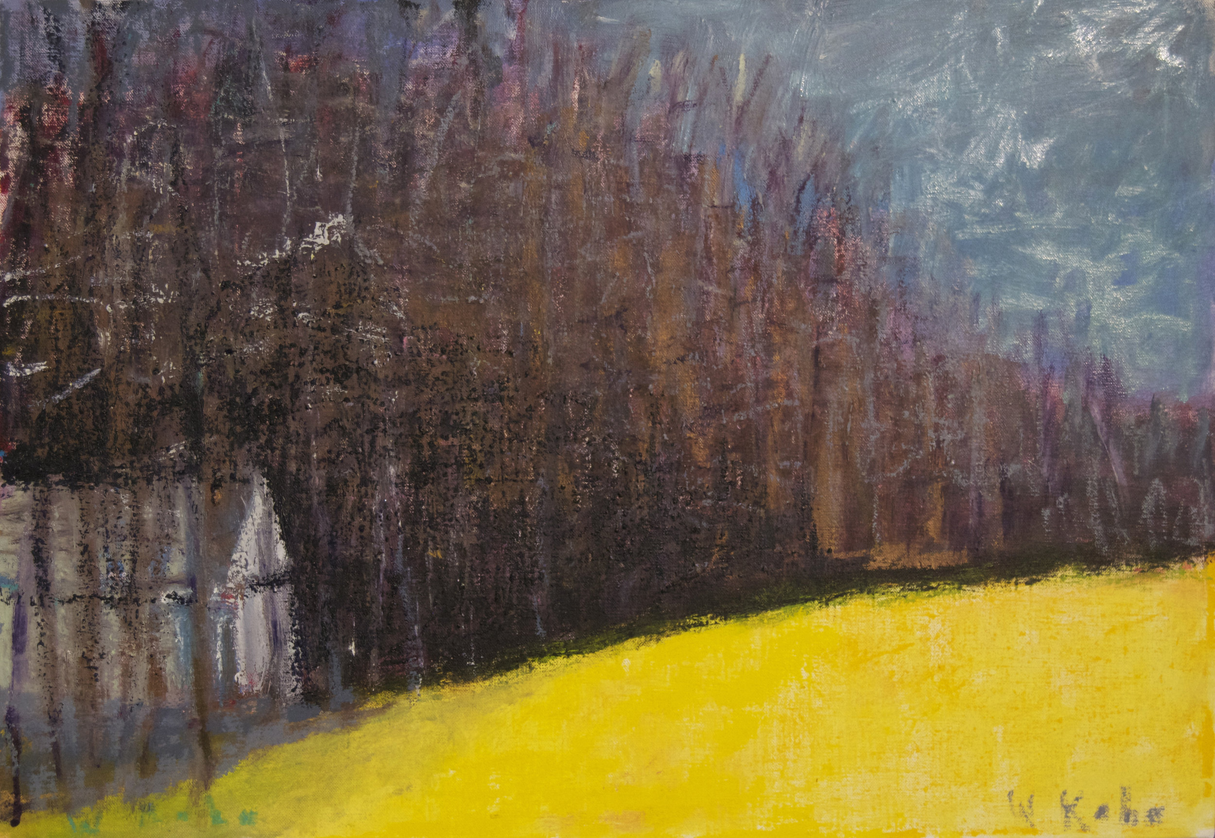 White Cabin Among Black Trees , 2014 Oil on canvas 18 x 26 inches