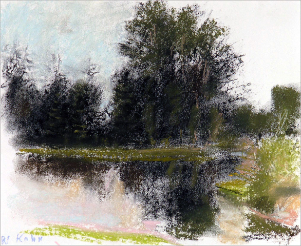 Cottonwoods Reflections , 2008 Pastel on paper 11 x 14 inches