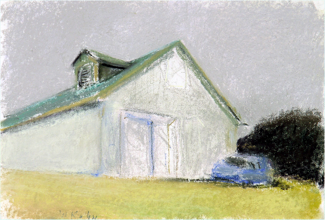 White Barn, Blue Car , 2007 Pastel on paper 12 x 18 inches
