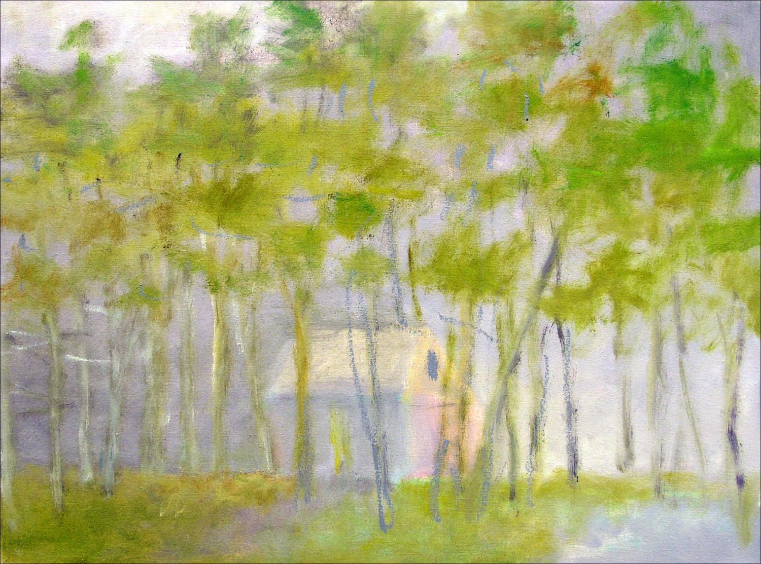 Pale House Amid Trees , 2005 Oil on canvas 22h x 30w inches
