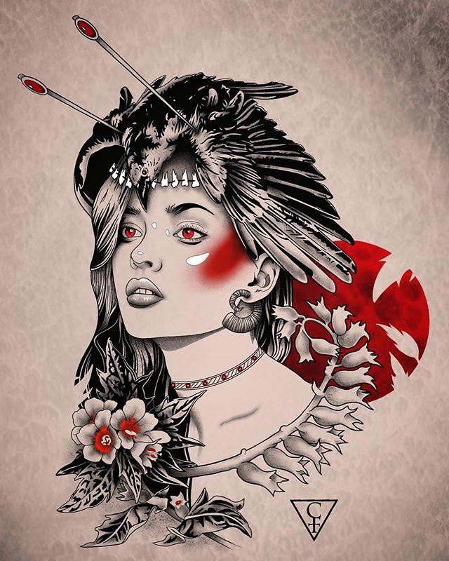 Henbane Hecate, digital. *available . . . . . . #digitalart #art #ink #tattoo #tattoodesign #henbane #hecate #witch #drawing #painting #houstontattooartist #houstontattoo #darkknighttattoostudio #houstontx
