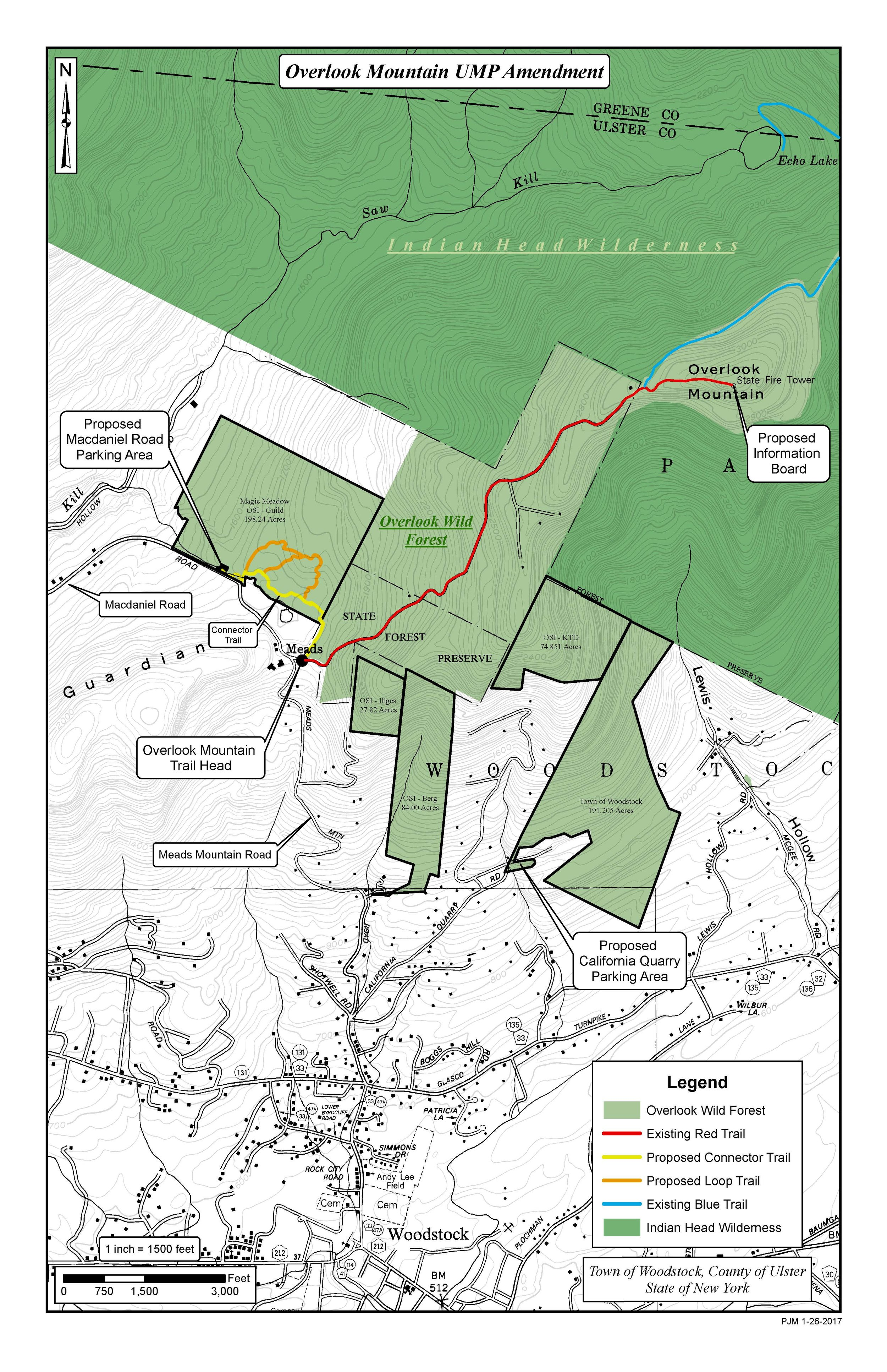 New parking lot and trails to access trails to Overlook Mountain courtsey of NYSDEC