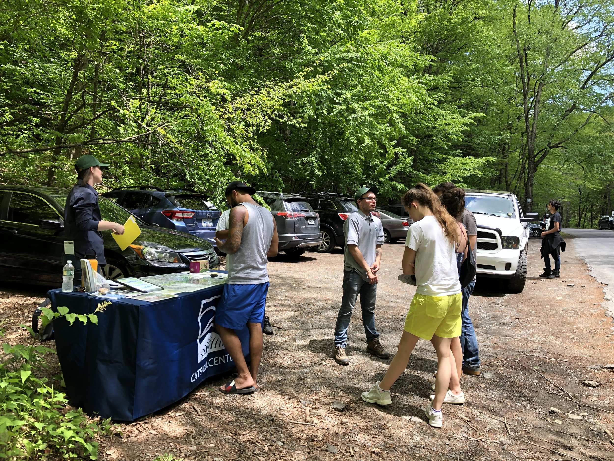 Stewards greeting visitors to the Peekamoose Blue Hole