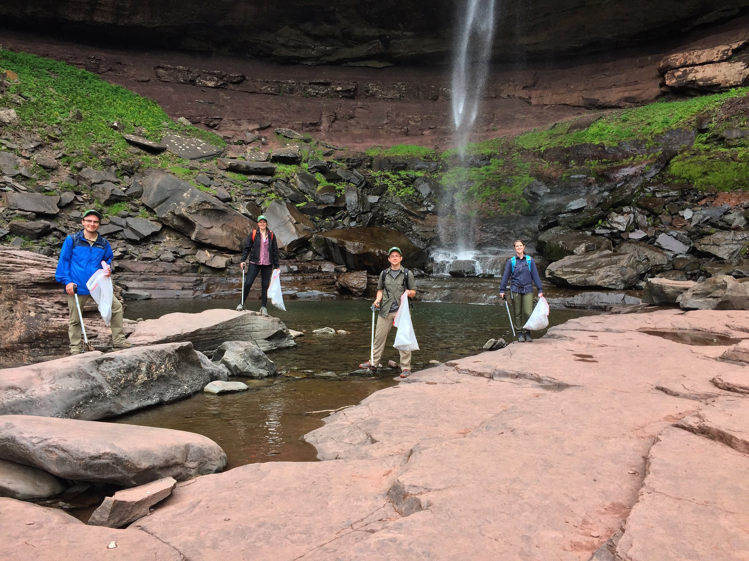 Catskill Center's Stewards this season helping to keep Kaaterskill Falls clean.