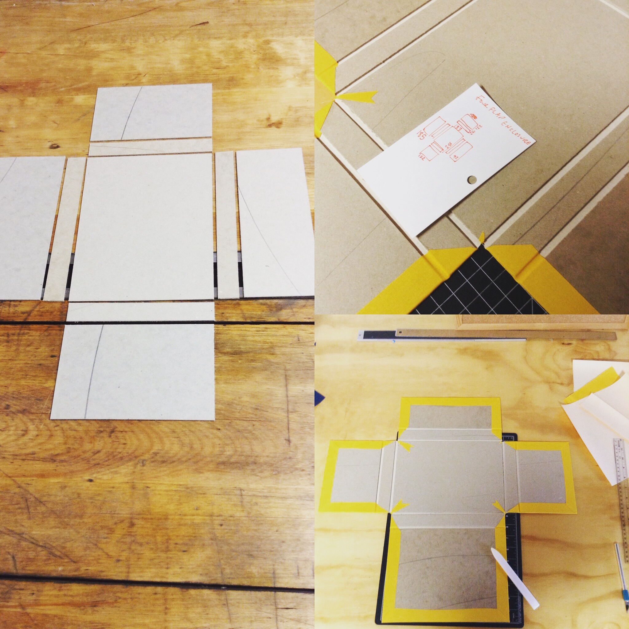 Different images showing a few try outs of making the four flap enclosure.