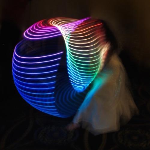 Jane Carleton Dancing with Galactic Rainbow LED Hoop