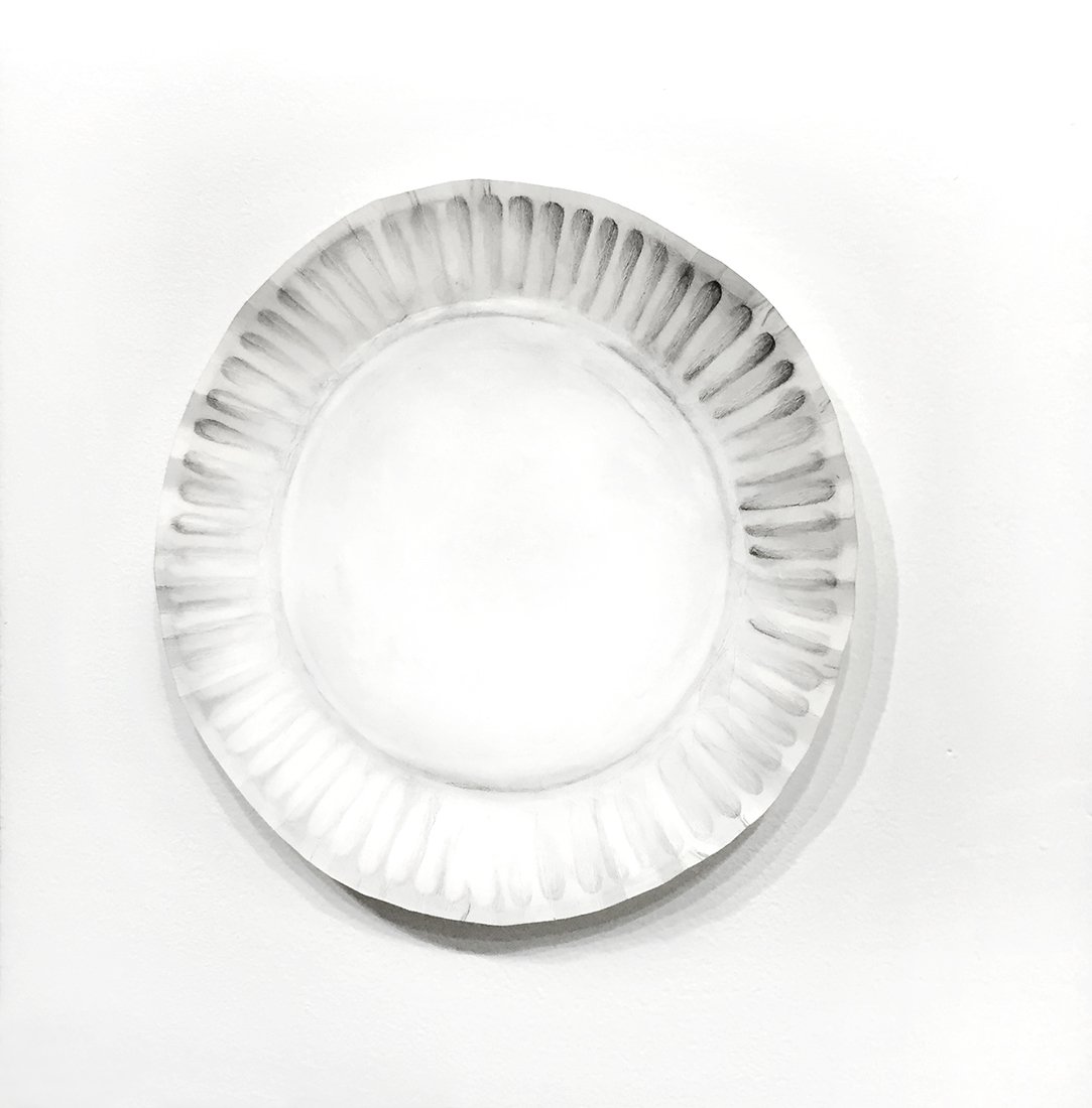 """Paper plate (on wall)   2015 9.5 x 9.5 x 2"""" Acid-free paper, graphite"""