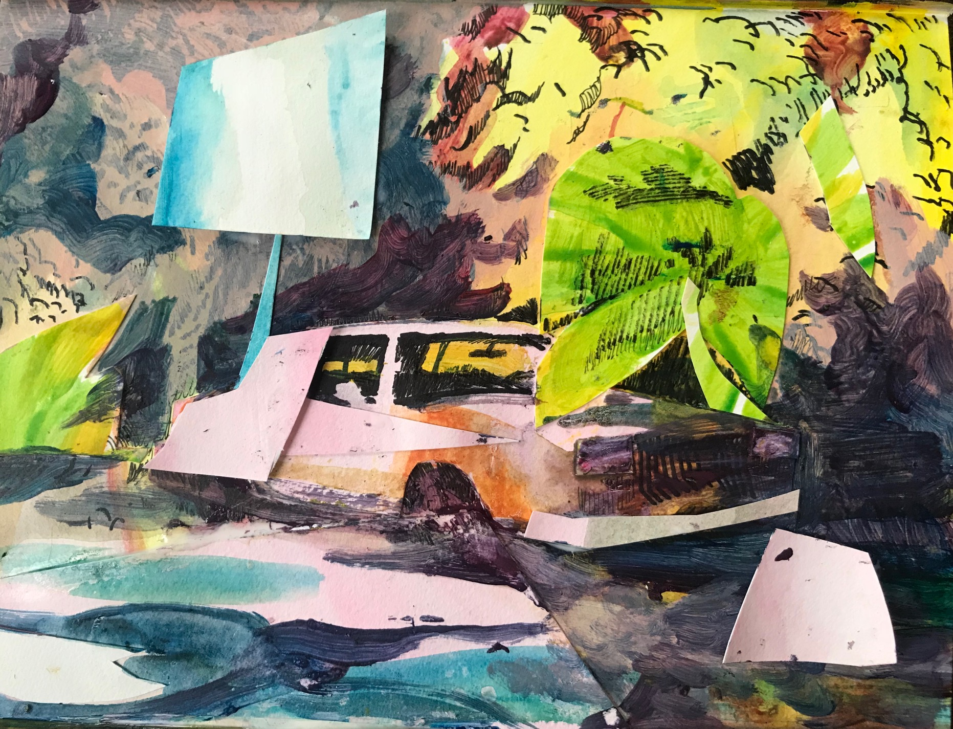 Study of a Coutlass Coupe, acrylic, ink and collage on paper, 9x12%22.jpg