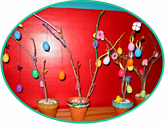 Trees made as gifts for neighbors who were not able to come and craft with us.