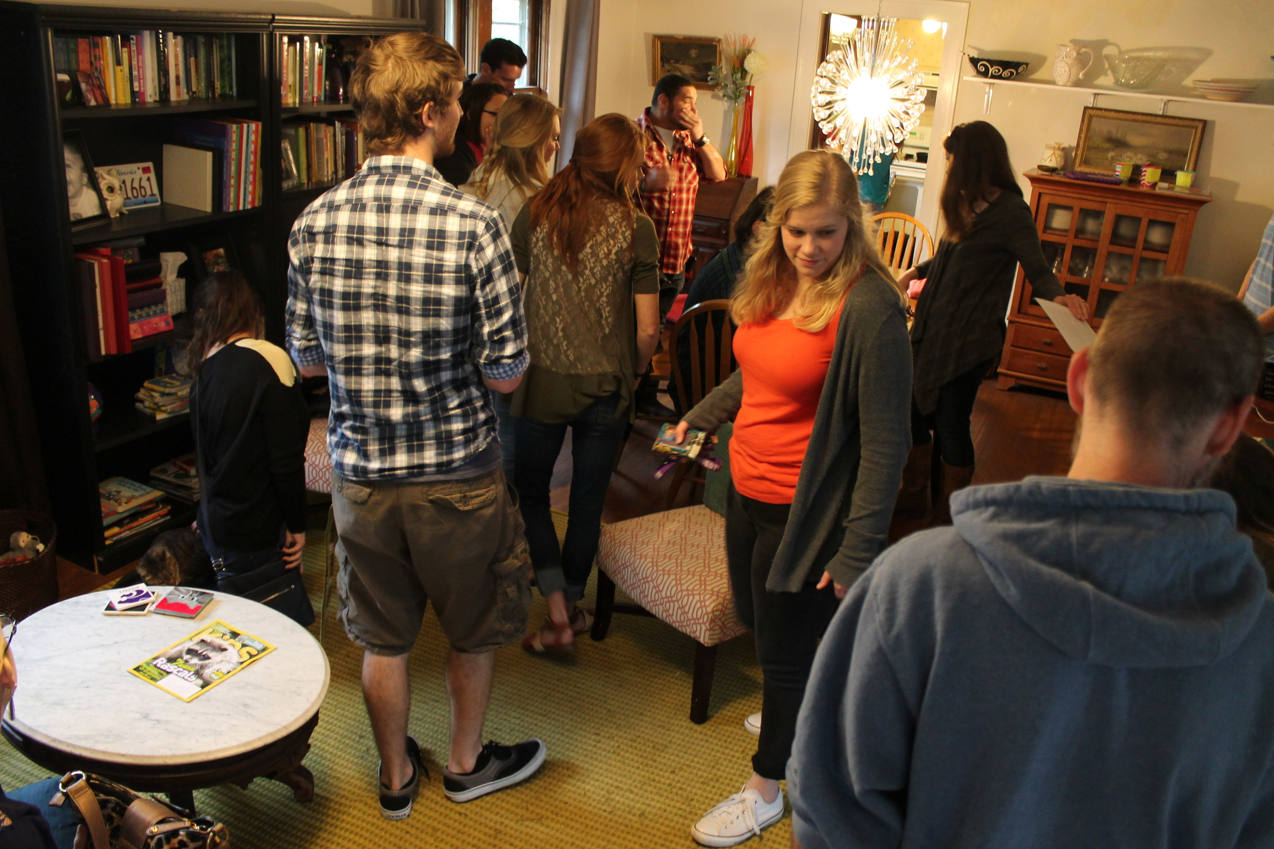 Students gather at Adam and Ashley's before lunch is served.