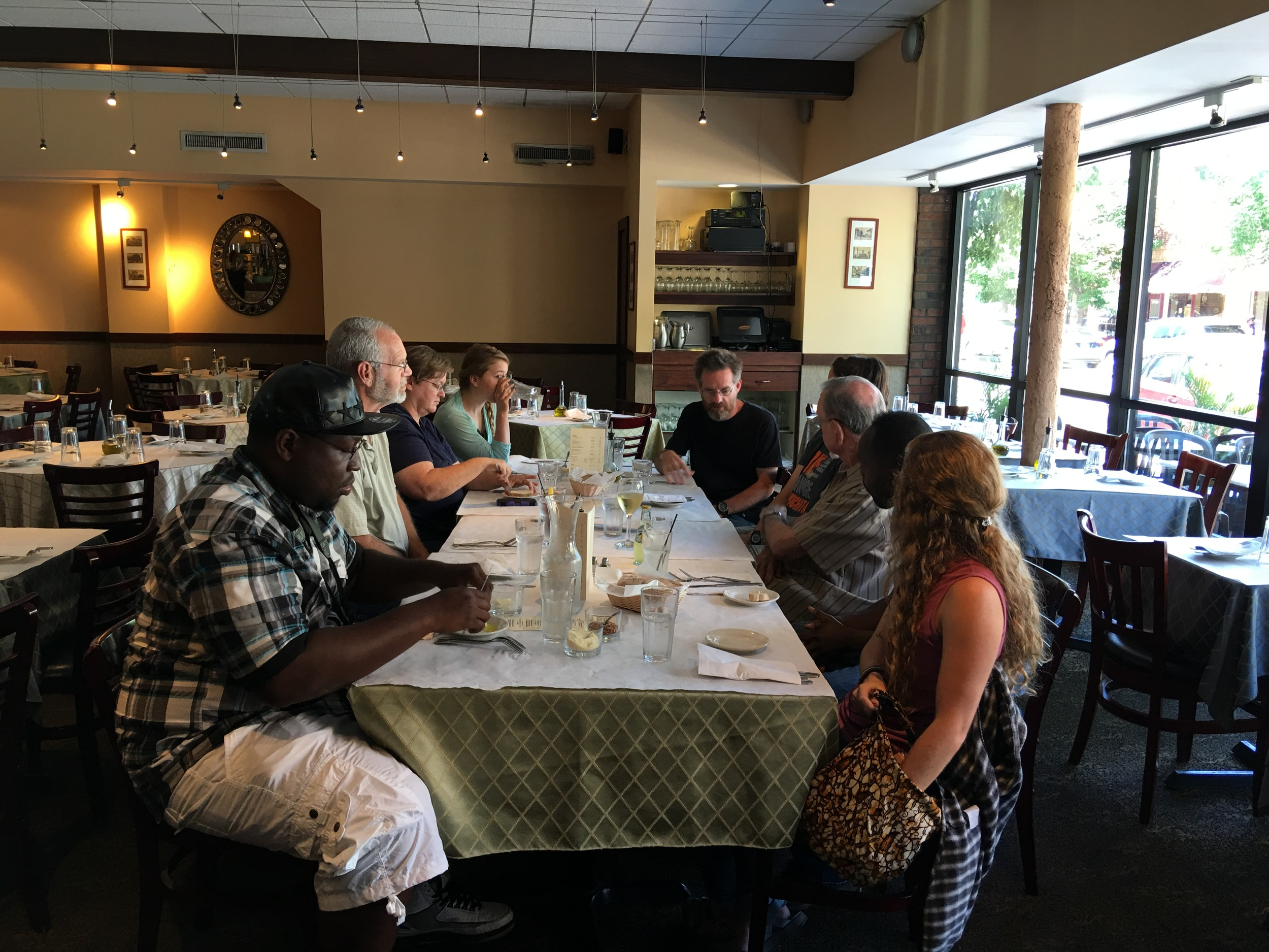 Our group gathers with folks from Indy, along with Mr. John McKnight at Trattoria D.O.C. in Evanston, Illinois.