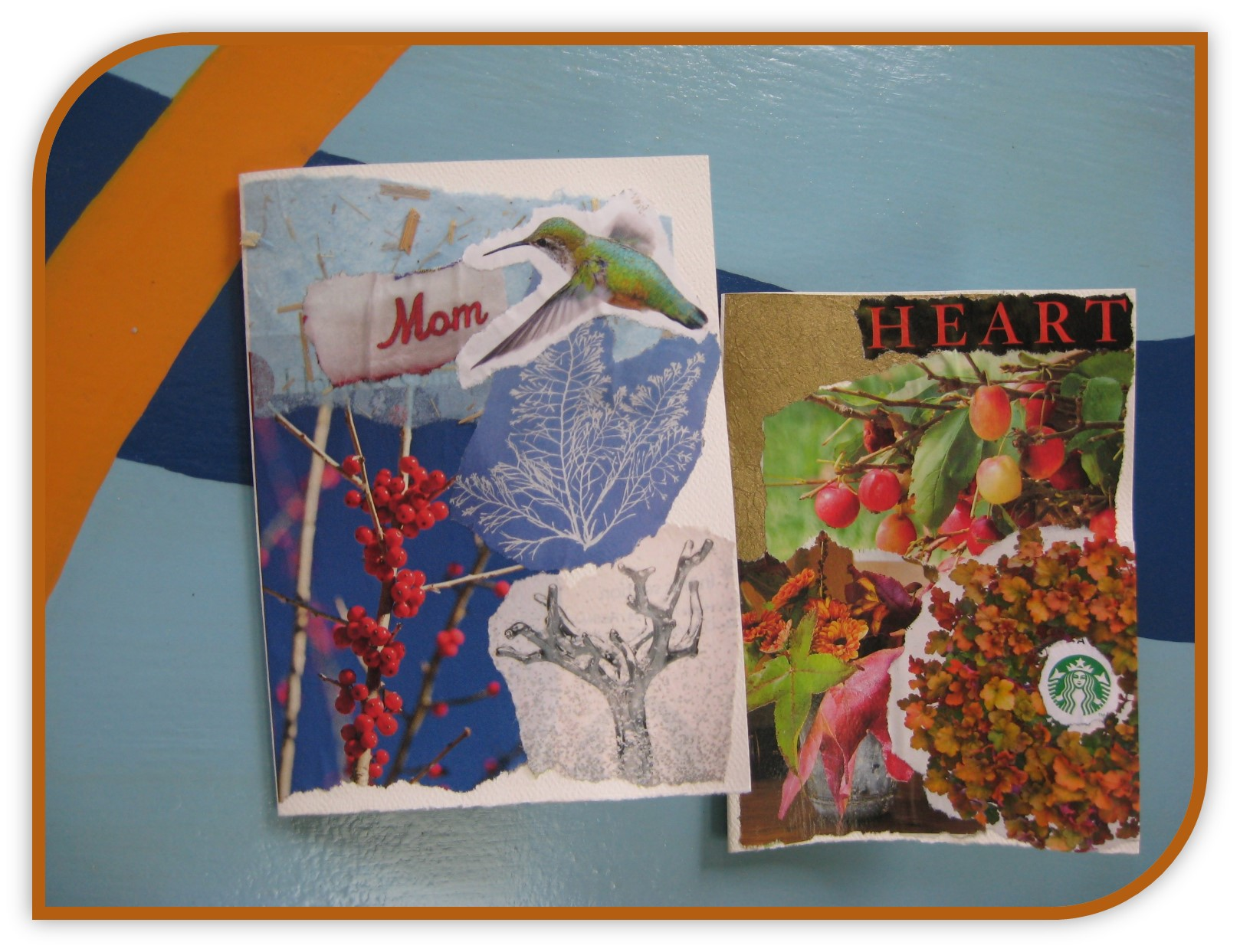 Collage greeting cards created this morning