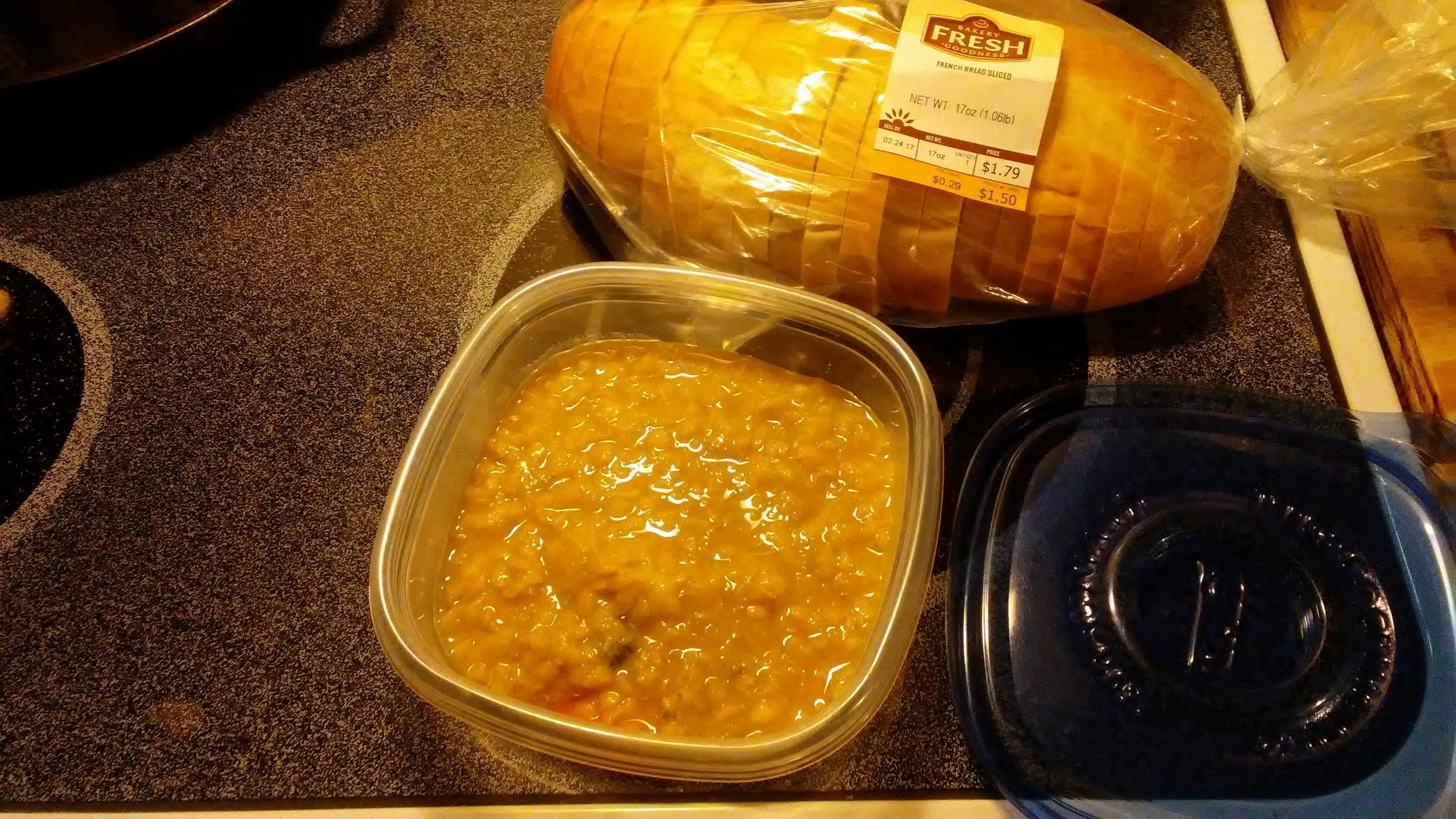 Lentil and Kale Soup with bread--so good! Fun to share!