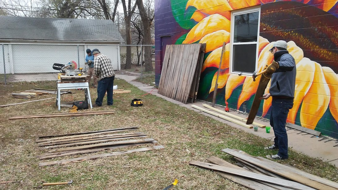 Steps 1 & 2: disassembling fence panels and cutting the boards to size