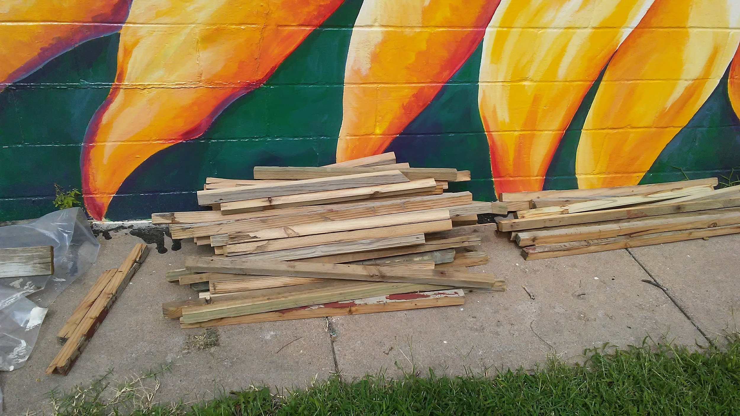 "These 2""x 2"" boards will become framing for garden boxes!"