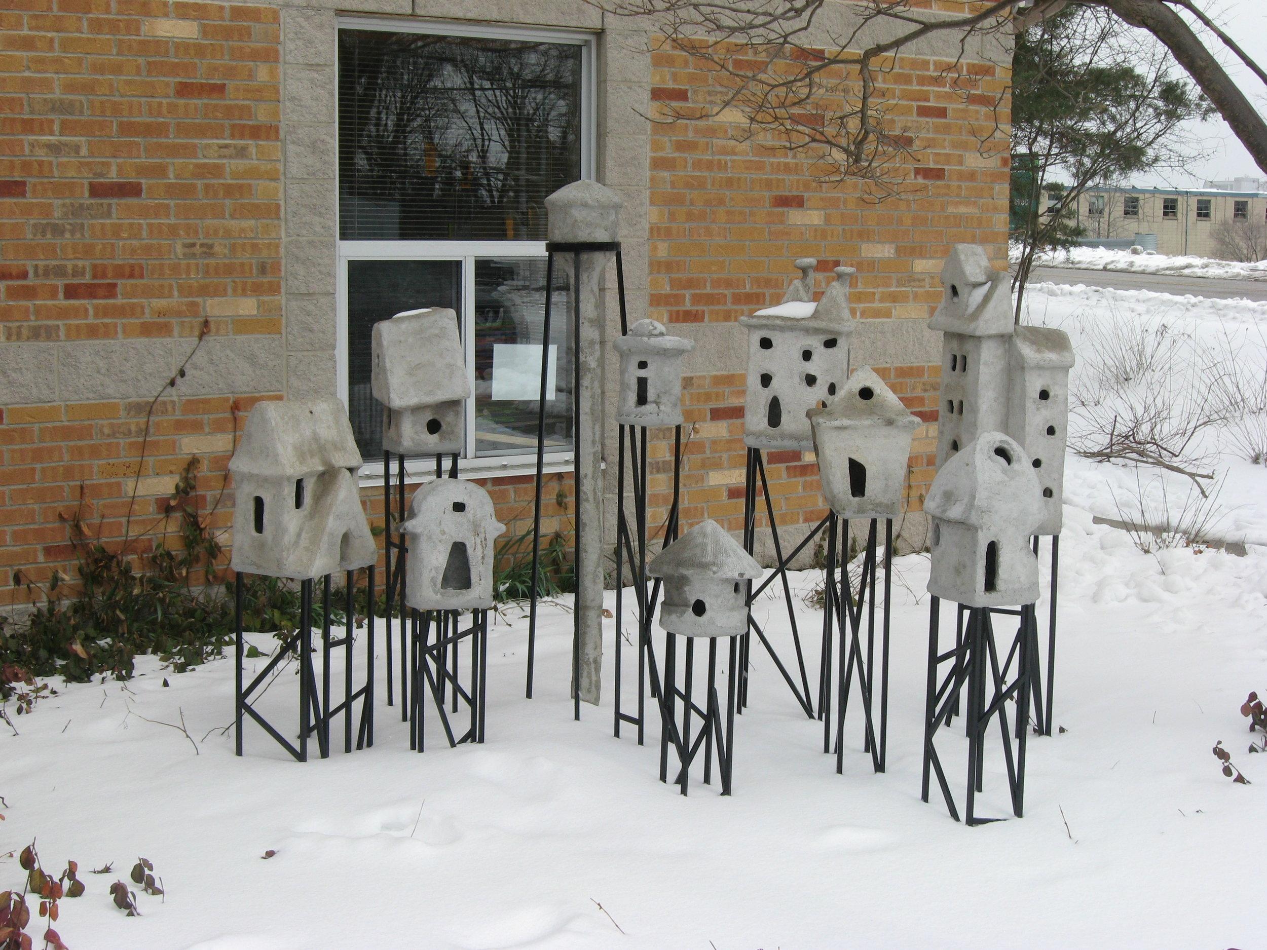 """City on Stilts"" art installation at Mill Courtland Community Centre in Kitchener, Ontario"