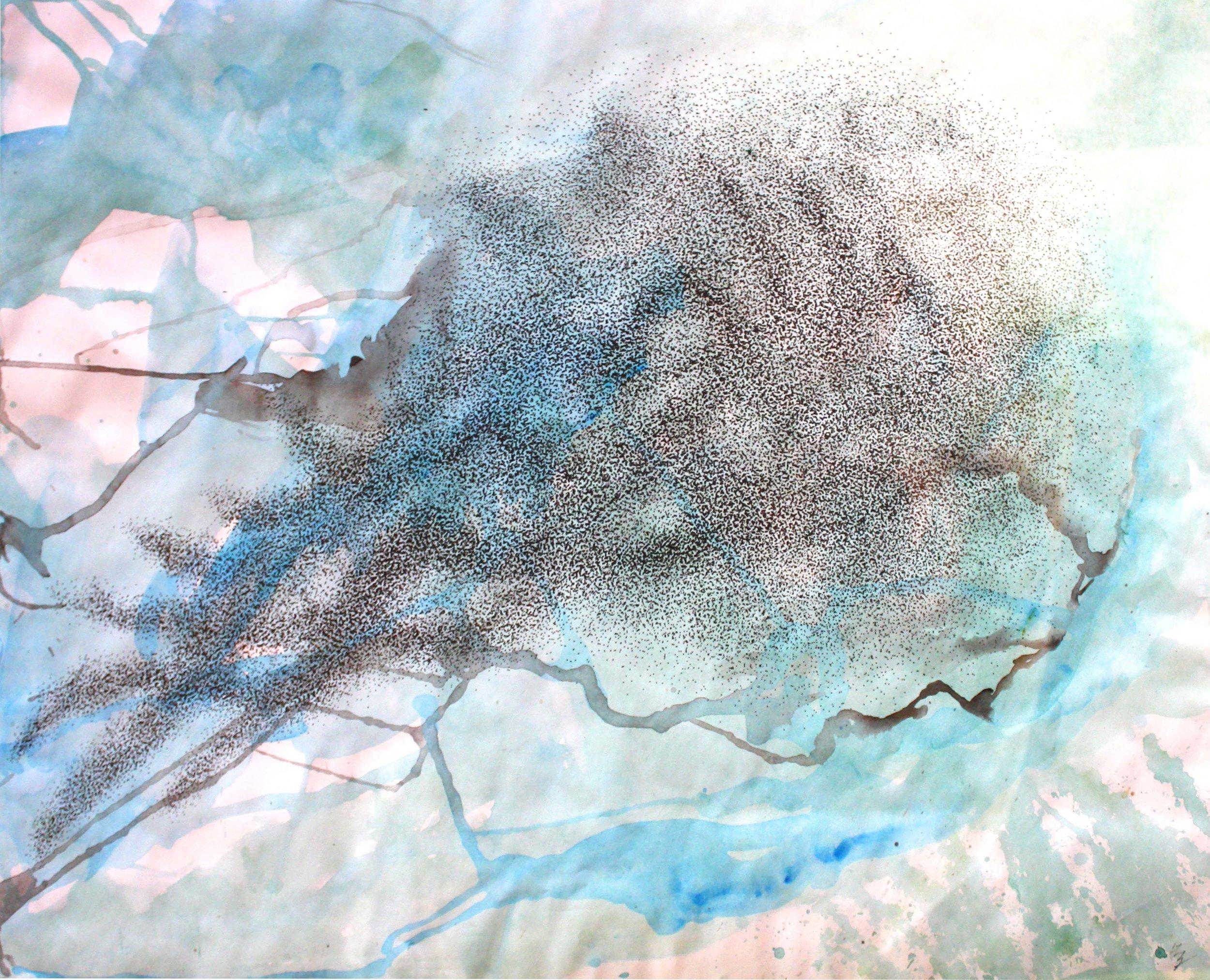 """Murmure: Ranula   Pen & ink, acrylic on paper  18"""" x 24"""""""