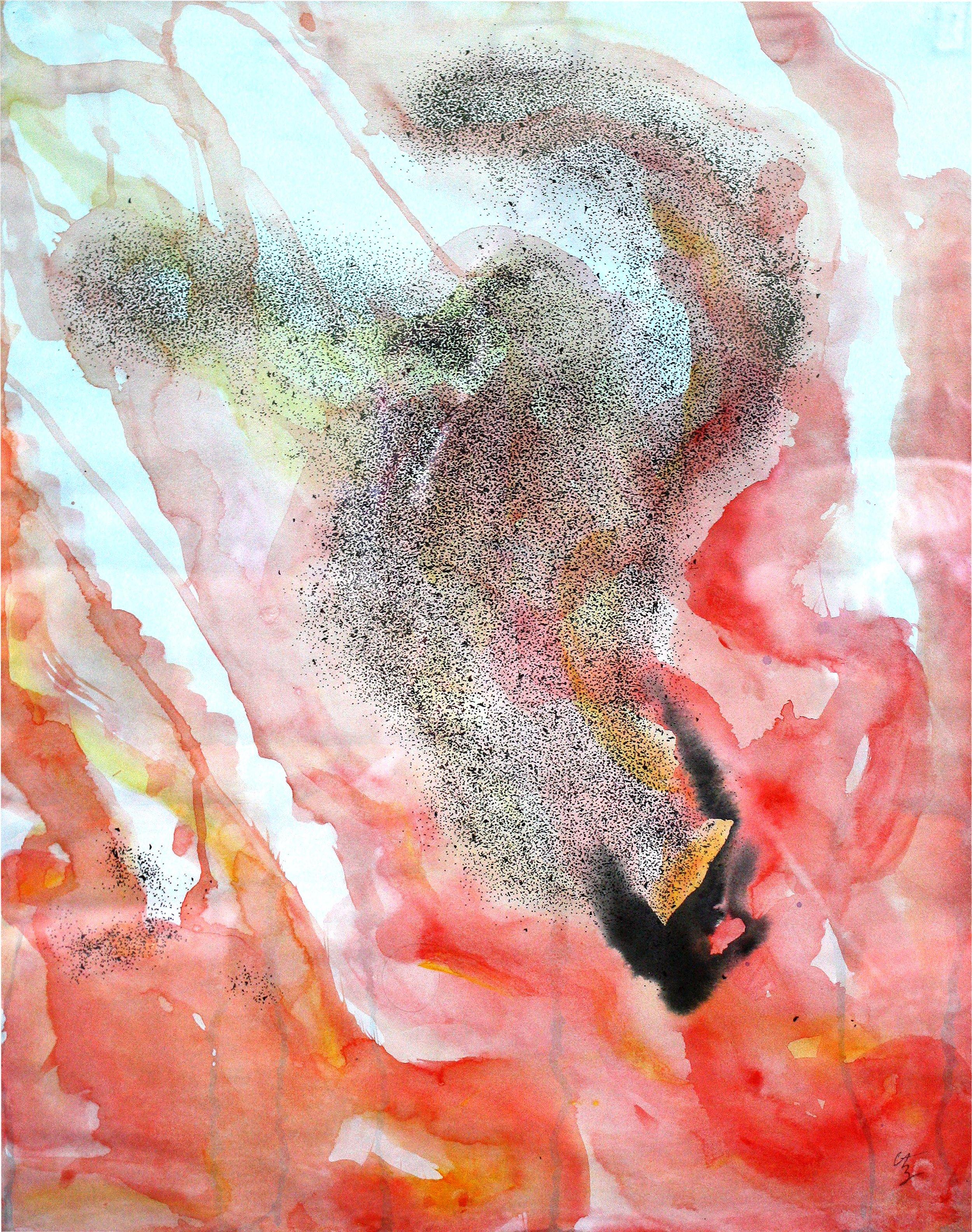 """Murmure: Volatis   Pen & ink, acrylic on paper  18"""" x 24"""""""
