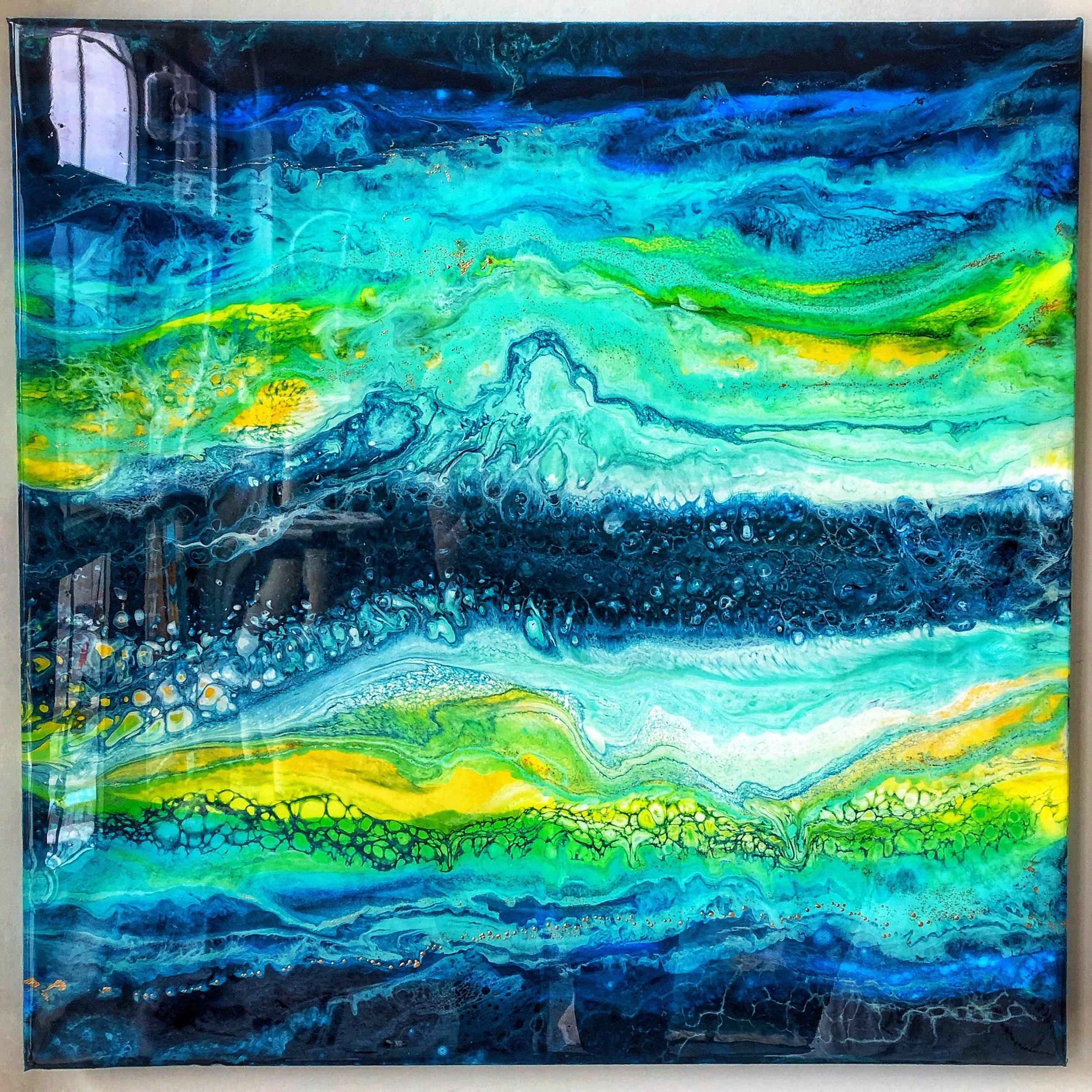 "Electric Feel - SOLD 25"" x 24"", fluid acrylic, liquid gold leaf, resin on canvas"