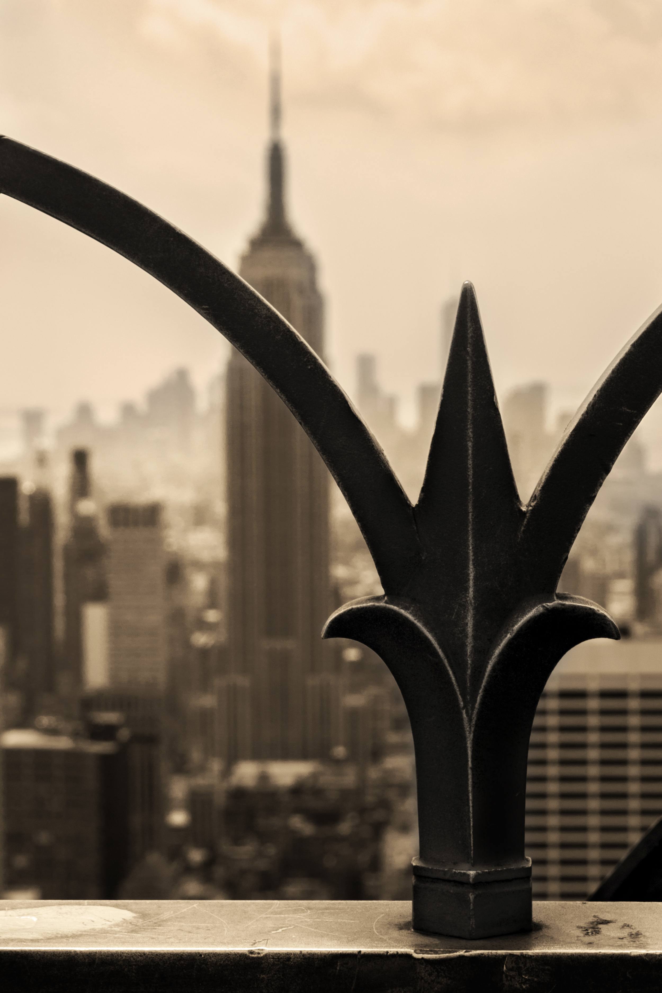 Top of the Rock (Rockefeller Center) with Empire State Building in the Background