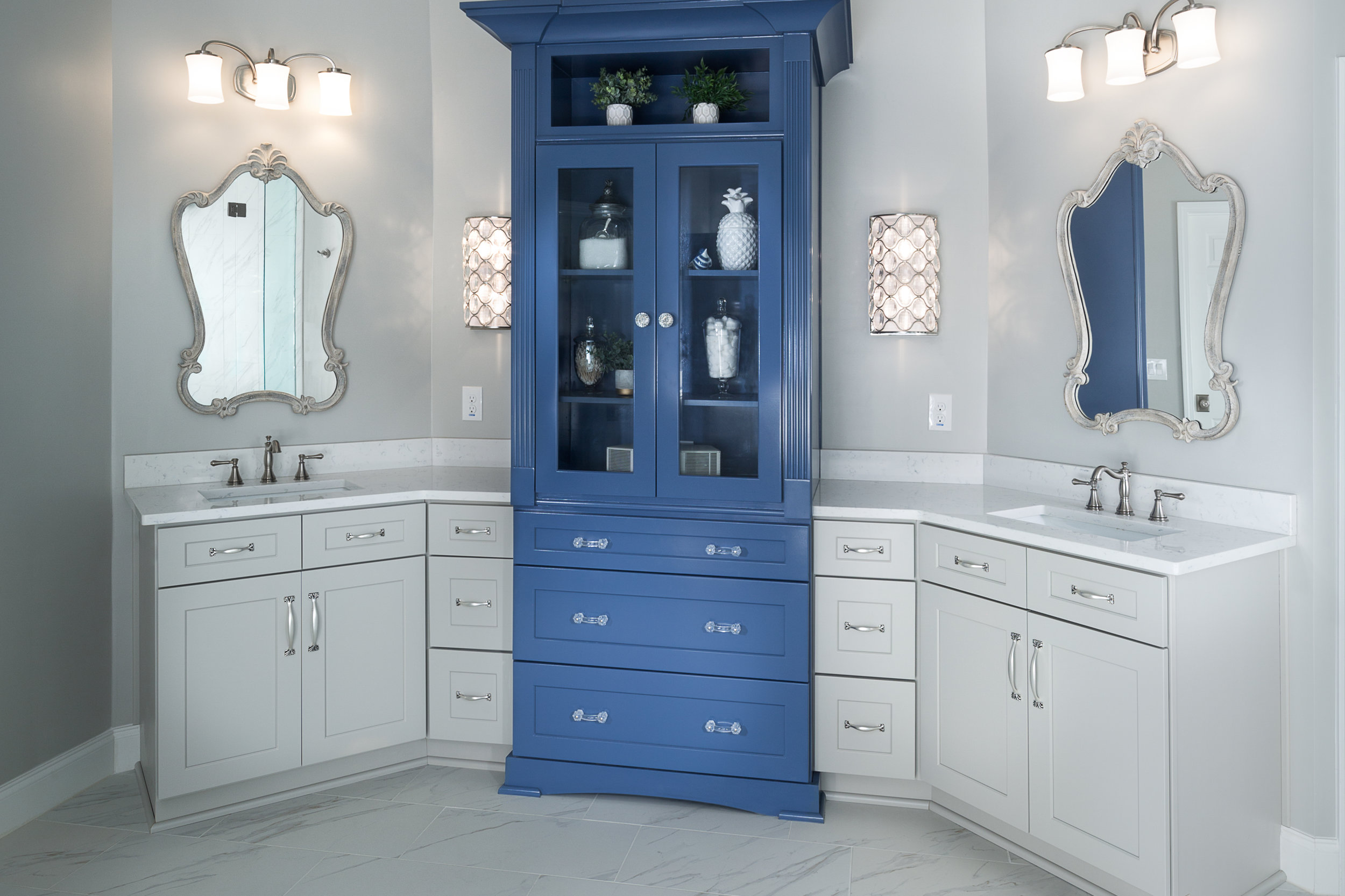 Grey and periwinkle are a great combo for an Owner's Suite. Designed and remodeled by db Atlanta.