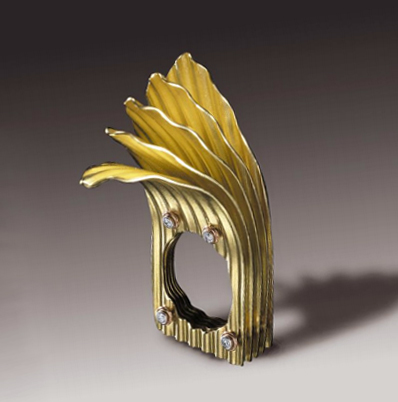 FOLD by Alan Revere 2013. 18K yellow gold, 14k rose gold, platinum and diamonds. Courtesy of AJDC. Photograph by Ron Saltiel.