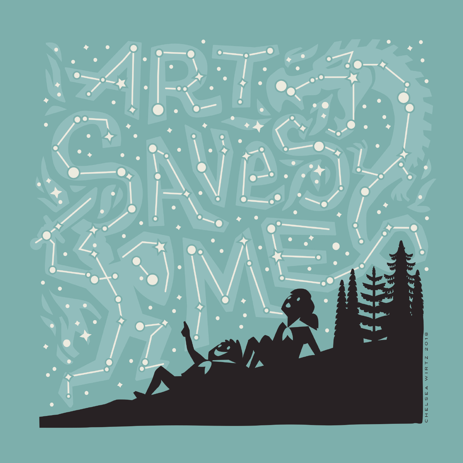 The artwork shown here is a limited edition reissue of Chelsea Wirtz's 2010 ART SAVES ME artwork created for Bumbershoot.  @goodmorning_goodnight_
